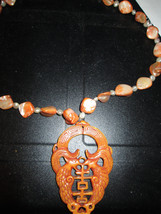 Asian Inspired Double Serpent Rooster Or ??  Shell Beaded Necklace Unique - $44.00
