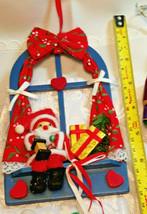 6 Vintage Christmas Ornaments Santa In Window, Tin Soldier, Straw Broom, Horns image 2