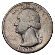 1932-D 25C Washington Quarter in Fine Condition, All Letters Clear from Rim - $133.65