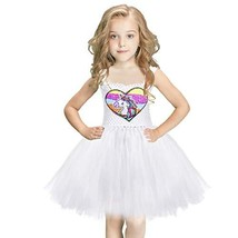 White Tutu Dress for Girls Unicorn Rainbow Dress Costume with Reversible... - $30.32