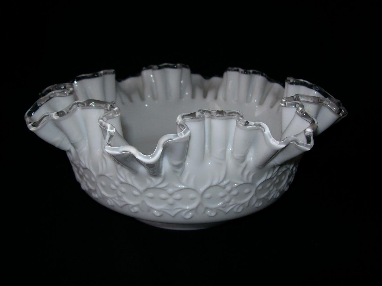 Vintage Fenton White Ripple  Crest Ruffle  Milk Glass Dish