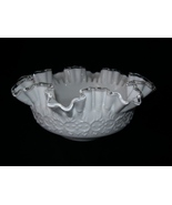 Vintage Fenton White Ripple  Crest Ruffle  Milk Glass Dish - $35.00