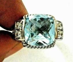 Judith Ripka Estate Blue Topaz and Diamonique Sterling Silver Ring ~ 6 R... - $185.95