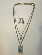 Retro / Vintage Large & Small Owl Pendant Necklace, Earrings with Rhines... - €11,01 EUR