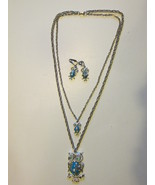 Retro / Vintage Large & Small Owl Pendant Necklace, Earrings with Rhines... - $229,43 MXN