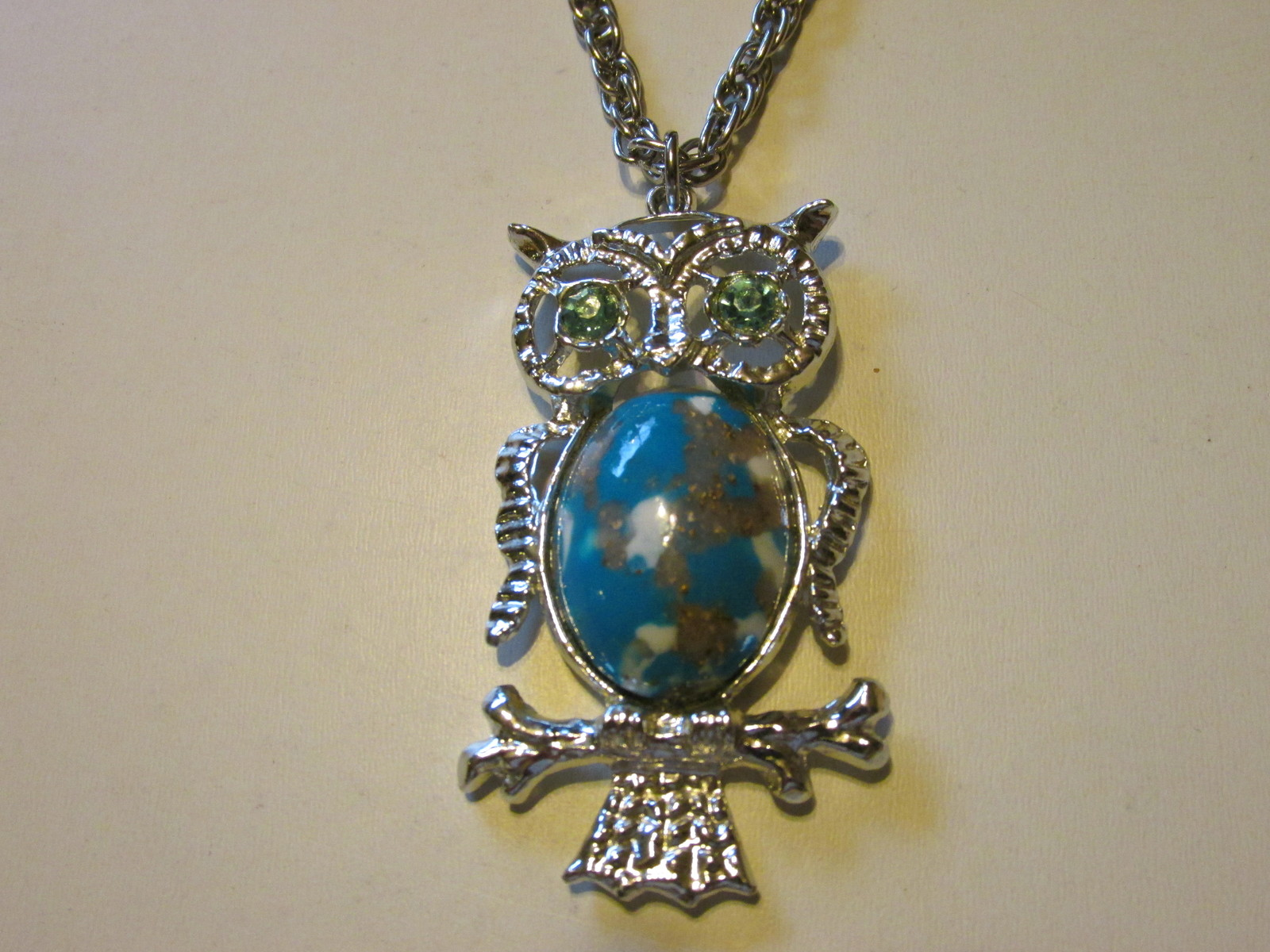 Retro / Vintage Large & Small Owl Pendant Necklace, Earrings with Rhinestones