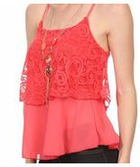 Boho Chic Flirty Coral Lace Cami Tank Top w/ Ne... - $27.99