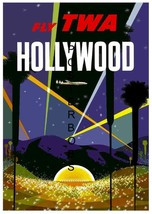 TWA Airlines Vintage Hollywood 13 x 10 inch Travel Advertising Canvas Print - $19.95