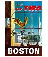 TWA Airlines Vintage Boston Advertising 13 x 10 inch Giclee Canvas Print - $19.95