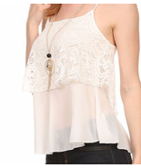 Boho Chic Flirty Ivory Lace Cami Tank Top w/ Ne... - $27.99