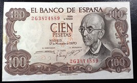 SPAIN: 1970, 100 Cien Pesetas, P-152 ** aUNC **  España ◢ FREE COMBINED ... - $3.22