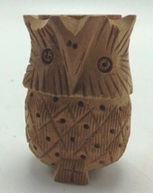 Vintage Owl Box Hand Carved Wood With Painted Bug Inside Figural Hinged  - $22.24