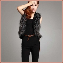 Long Hair Peacock Feather Faux Fur Fashion Short Vest - FUN to Wear! - $67.95