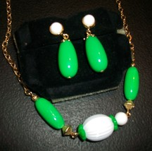 Vintage Avon Green and White Necklace and Clip-On Earrings Set  'Come Summer' - $14.00