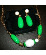 Vintage Avon Green and White Necklace and Clip-On Earrings Set  'Come Su... - $14.00
