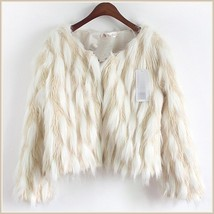 Long Tufted White Haired Ivory Faux Fur Short Coat Jacket Inside Covered Buttons image 5