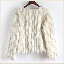 Long Tufted White Haired Ivory Faux Fur Short Coat Jacket Inside Covered Buttons image 6
