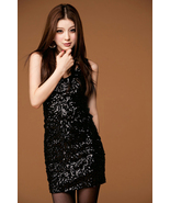 Glamorous Girl. Chic Sparkling Black Sequins Mini Dress.Cocktail Party E... - $63.00