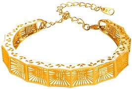 12MM Hollow Sculpture Bangle For Women Bridesmaid 18K Gold Plated Wristband - $39.39
