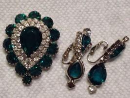 Pin Brooch & Clip Earrings Emerald Green Rhinestones Teardrop Hand Set S... - $47.52
