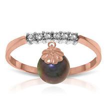 2.1 CT 14K Solid Rose Gold Ring Natural Diamond Dangling Black pearl - $240.78