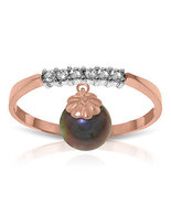 2.1 CT 14K Solid Rose Gold Ring Natural Diamond Dangling Black pearl - $240.78