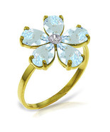 Brand New 2.22 CT 14K Solid Gold Aquamarine Natural Diamond Ring - $291.75