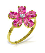 Brand New 2.22 CTW 14K Solid Gold Pink Topaz Natural Diamond Ring - $252.25