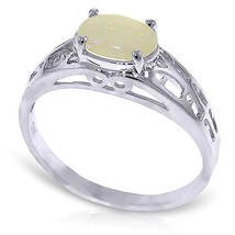Brand New 0.45 Carat 14K Solid White Gold Filigree Ring Natural Opal - £152.06 GBP