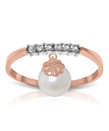 Brand New 2.1 CTW 14K Solid Rose Gold Ring Natural Diamond Dangling pearl - $240.78