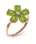 Brand New 14K Solid Rose Gold Ring w/Natural Diamond & Peridots - $255.81