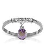 Brand New 1.45 CTW 14K White Gold Ring Natural Diamond Dangling Amethyst - $242.57