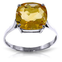 Brand New 3.6 ct 14K   White Gold Ring Natural Checkerboard Cut Citrine - $246.14