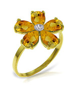 Brand New 2.22 CT 14K Solid Gold Citrine Natural Diamond Ring - $247.81