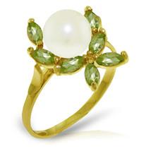 Brand New 2.65 Carat 14K Solid Gold Ring Natural Peridot pearl - $197.55
