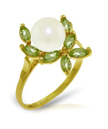 Brand New 2.65 Carat 14K Solid Gold Ring Natural Peridot pearl - $197.55