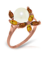 Brand New 14K Solid Rose Gold Ring with Natural Garnets, Citrines & pearl - $205.40