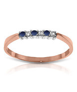 Brand New 0.11 CTW 14K Solid Rose Gold Band Sapphire Natural Diamond Ring - $197.95