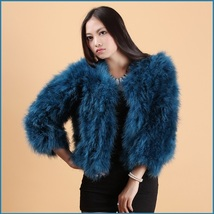 Turquoise Blue Ostrich Feather Wool Fur Waist Length Fashion Coat Jacket