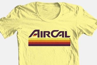 Air Cal T-shirt retro 1980s California 1970 airline 100% cotton graphic tee