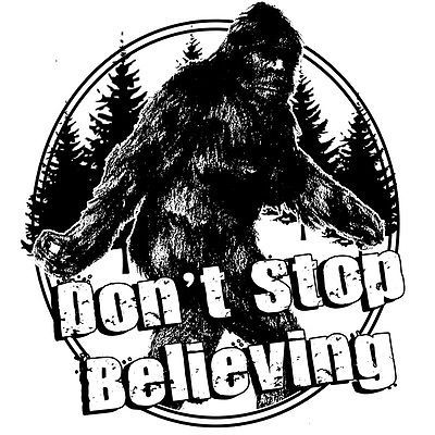 Big Foot T shirt Don't Stop Believing Sasquatch funny 80's cotton graphic tee