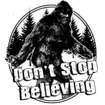 Big Foot T shirt Don't Stop Believing Sasquatch funny 80's cotton graphic tee   image 1