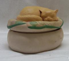Vintage Hallmark Bisque Porcelain Sleeping Cat Trinket Box - $11.20