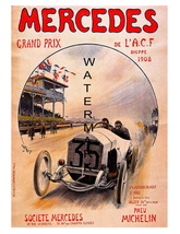 Mercedes Vintage Grand Prix Auto Racing 13 x 10 inch Advert Giclee CANVA... - $19.95