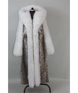 Full Length Lynx Fur Coat White Fox Sleeves Cobra Hood - $1,999.00
