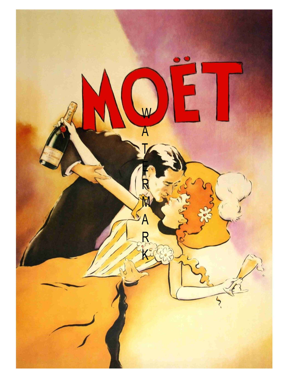 Moet Vintage Champagne 13 x 10 inch Advertising Giclee CANVAS Print