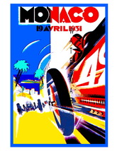 Monaco Vintage (1931) Grand Prix Auto Racing 13 x 10 in Adv Giclee CANVA... - $19.95
