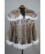 Lynx Fur Coat Shoulder Collar with White Fox Fur Cuffs and Trim - $1,700.00