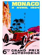 Monaco Vintage (1934) Grand Prix Auto Racing 13 x 10 in Adv Giclee CANVA... - $19.95