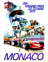 Monaco Vintage (1971) Grand Prix Auto Racing 13 x 10 in Adv Giclee CANVA... - $19.95